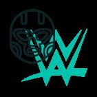 wrestler mask over the WWE logo